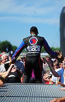 May 6, 2012; Commerce, GA, USA: NHRA top fuel dragster driver Antron Brown during the Southern Nationals at Atlanta Dragway. Mandatory Credit: Mark J. Rebilas-