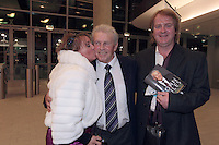 4/11/10 John Giles with Rebecca Storm and husban Kenny Shearer at the launch of his autobiography A Football Man, at the Aviva Stadium, Dublin. Picture:Arthur Carron/Collins