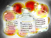 Biomedical illustration of vials of 2009 H1N1 Swine Flu vaccine superimposed on a transmission electron micrograph of H1N1 viruses.