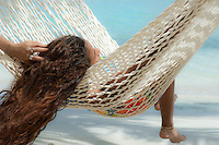 Aldris Santana in a hammock at Maho Bay.Virgin Islands National Park.St. John, U.S. Virgin Islands