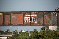 """Not only does the Austin Railroad Graffiti Bridge over Lady Bird Town Lake contain some of Austin's most famous and cherished graffiti mural paintings, but marriage proposals too as in the """"Will You Marry Me Erin?"""" proposal."""