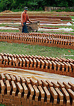 A girl lmoving bricks out to dry before firing in a kiln in Sainyabuli province, Laos.