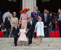 King Philippe of Belgium,  Queen Mathilde of Belgium and  children attend the Te Deum mass - Belgium