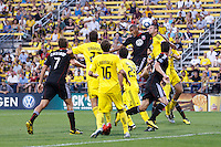 26 JUNE 2010:  Jordan Graye #16 of DC United  and Jason Garey of the Columbus Crew (9) go up for a header during MLS soccer game between DC United vs Columbus Crew at Crew Stadium in Columbus, Ohio on May 29, 2010. The Crew defeated DC United 2-0.