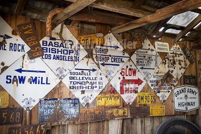 Historic Auto Club of Southern California traffic and info signs made of baked enamel on metal, Collections at the Laws Museum, Inyo County, Calif.