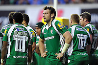 Tom Guest of London Irish looks on. Aviva Premiership match, between London Irish and Bath Rugby on November 7, 2015 at the Madejski Stadium in Reading, England. Photo by: Patrick Khachfe / Onside Images