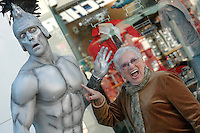 Mime artist Duncan Meadows, 35,  dressed as a Roman Centurion , entertains at the Third Street Promenade on Sunday, December 2, 2007 in Santa Monica.