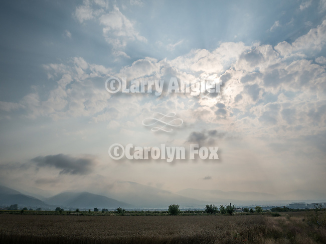 Central Balkan Mountains with fog and clouds from the Rose Valley, Zagora Plains near Kazanlak, Bulgaria
