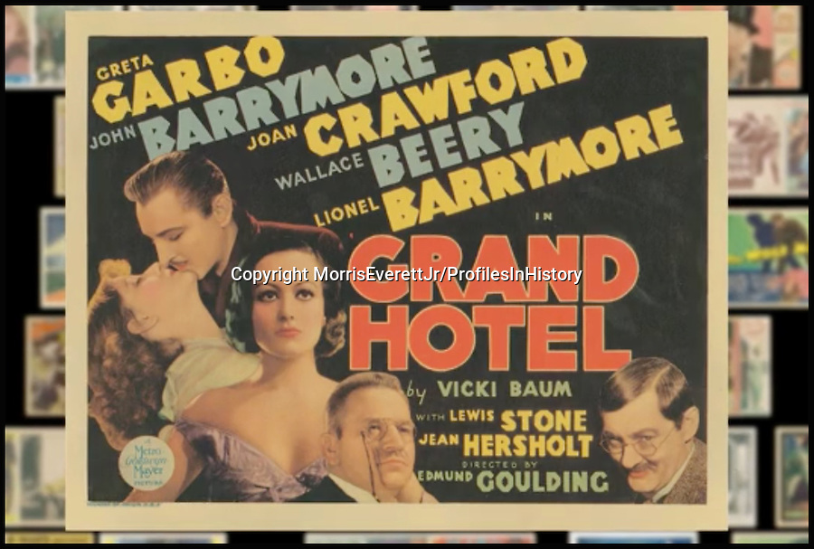 BNPS.co.uk (01202 558833)<br /> PIc: MorrisEverettJr/ProfilesInHistory/BNPS<br /> <br /> ***Please Use Full Byline***<br /> <br /> Grand Hotel (1932). <br /> <br /> The world's largest collection of movie posters boasting artwork from almost every single film made in the last century has emerged for sale for &pound;5 million.<br /> <br /> The colossal archive features 196,000 posters from more than 44,000 films, and has been singlehandedly pieced together by one avid collector over the last 50 years.<br /> <br /> Morris Everett Jr has dedicated his life's work to seeking out original posters from every English-speaking film ever made and compiling them into a comprehensive library.<br /> <br /> The sale is tipped to make $8 million - around &pound;5 million pounds - when it goes under the hammer in one lot at Califonia saleroom Profiles in History on December 17.