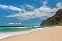 Polihale Beach Park, looking towards the Na Pali Coast; Kauai, Hawaii. .