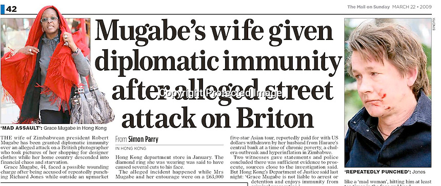 Mail on Sunday, UK,March, 2009, showing the incident where Grace Mugabe attacked photographer Richard Jones. ©sinopix