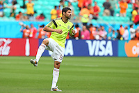 Diego Costa of Spain warms up before kick off as he is named in the starting XI