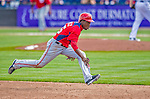23 February 2013: Washington Nationals outfielder Eury Perez hustles to third during Spring Training action against the New York Mets at Tradition Field in Port St. Lucie, Florida. The Mets defeated the Nationals 5-3 in their Grapefruit League Opening Day game. Mandatory Credit: Ed Wolfstein Photo *** RAW (NEF) Image File Available ***
