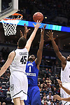 MILWAUKEE, WI - MARCH 18: Middle Tennessee Blue Raiders forward Brandon Walters (1) and Butler Bulldogs forward Andrew Chrabascz (45) reach for a rebound during the first half of the 2017 NCAA Men's Basketball Tournament held at BMO Harris Bradley Center on March 18, 2017 in Milwaukee, Wisconsin. (Photo by Jamie Schwaberow/NCAA Photos via Getty Images)