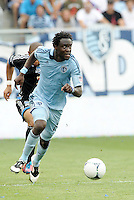 Kansas City forward Kei Kamara (23) drives at the San Jose goal... Sporting Kansas City defeated San Jose Earthquakes 2-1 at LIVESTRONG Sporting Park, Kansas City, Kansas.
