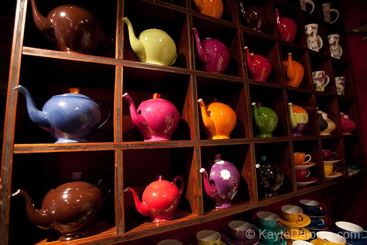 Tea pots in a tea shop in the Caroouge neighbrhood of Geneva, Switzerland