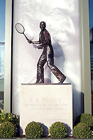 A statue of Fred Perry, the last British champion, at Wimbledon, The All England Lawn Tennis Club (AELTC), London.