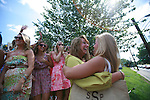 Delta Delta Delta sorority members hug during the 2011 sorority bid day event on Thursday, August 18, 2011. Photo by Brandon Goodwin | Staff