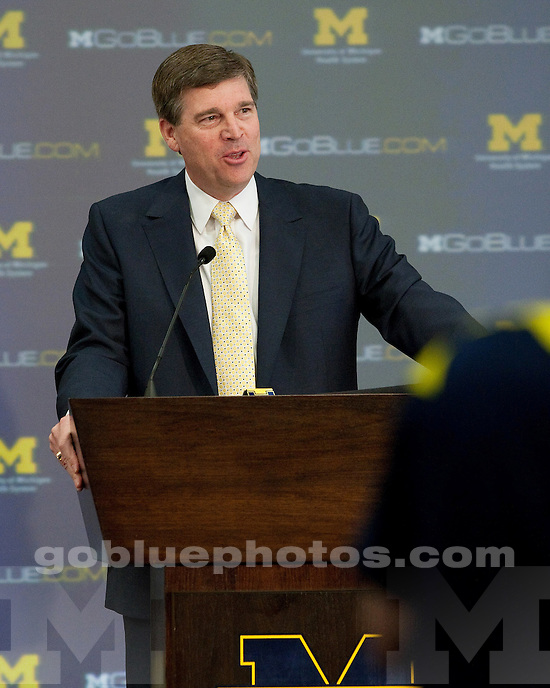 Press conference at Junge Champions Center on May 25, 2011, to announce that men's and women's lacrosse will become varsity programs at the University of Michigan.