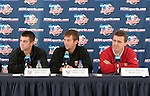 08 December 2005: Maryland head coach Sasho Cirovski (r) with players Jason Garey (l) and Chris Lancos (center) during a press conference at SAS Stadium in Cary, North Carolina in preparation for the NCAA Men's Division I College Cup semifinals to be played the following day.