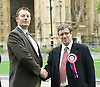 Adam Walker speaks at BNP Rally on Immigration outside Parliament, Westminster, London, Great Britain <br /> 19th October 2015 <br /> L to R:<br /> Adam walker <br /> Chairman of the BNP with David Furness London Mayoral Candidate for the British National Party <br /> <br /> <br /> Photograph by Elliott Franks <br /> Image licensed to Elliott Franks Photography Services