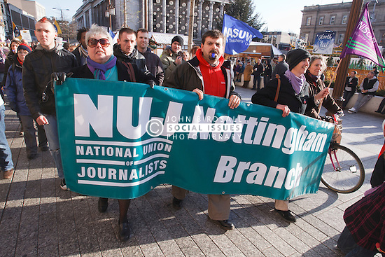 NUJ members with banners at demonstration against pension cuts, Nottingham 30th November 2011