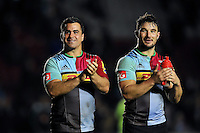 Dave Ward and George Lowe of Harlequins acknowledge the crowd after the match. Aviva Premiership match, between Harlequins and Sale Sharks on November 6, 2015 at the Twickenham Stoop in London, England. Photo by: Patrick Khachfe / Onside Images