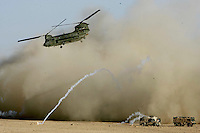A Chinnock Helicopter delivers ammo to troops at Camp Sandford where the Worcester and Sherwood Forester Regiment are based in Helmand provence, Southern Afghanistan. PRESS ASSOCIATION Photo. Picture date:Friday 17th August  , 2007. Photo credit should read: Andrew Parsons/PA.