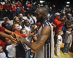 "Ole Miss guard Chris Warren (12) with fans at C.M. ""Tad"" Smith in Oxford, Miss. on Saturday, March 5, 2010. Ole Miss won 84-74."