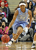 Cetera DeGraffenreid moves the ball down the court. This was the Championship game of the 2011 ACC Tournament in Greensboro on March 6, 2011. Duke beat UNC 81-66. (Photo by Al Drago)