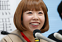 Japanese artist Megumi Igarashi speaks during a press conference on April 13, 2017, Tokyo, Japan. Igarashi also known as Rokudenashiko was declared partly innocent by the Tokyo District Court, today April 13, after first being arrested in 2014 for distributing 3D data of her genitals as part of a crowd funding project to make a kayak based on her vulva. She had been found guilty in 2016 of breaking obscenity laws and fined JPY 400,000 but appealed that ruling. She was found guilty of distributing obscene data via the internet but innocent for displaying her art. Her fiancé Mike Scott of The Waterboys was also in Tokyo to attend the hearing. (Photo by Rodrigo Reyes Marin/AFLO)