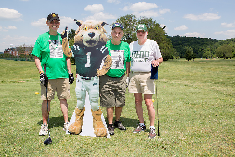Left to right: Ray Asik, Dave Yuhas, and James Wikoff at the alumni golf outing. Photo by Lauren Pond