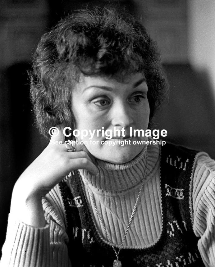 Josie Loughran, wife of prominent Provisional Sinn Fein politician, Seamus Loughran.  Seamus Loughran was part of a delegation of senior republicans who met Protestant clegrymen in Feakle, County Clare, in 1974. The talks between the then republican leadership figures and the clergymen lead to the IRA instigating its 1975 ceasfire. 197503000200a<br /> <br /> Copyright Image from Victor Patterson, 54 Dorchester Park, Belfast, UK, BT9 6RJ<br /> <br /> Tel: +44 28 9066 1296<br /> Mob: +44 7802 353836<br /> Voicemail +44 20 8816 7153<br /> Email: victorpatterson@me.com<br /> <br /> <br /> IMPORTANT: If you wish to use this image or any other of my images please go to www.victorpatterson.com and click on the Terms &amp; Conditions. Then contact me by email or phone with the reference number(s) of the image(s) concerned.