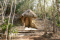 Weathered Myan stela in the Macanxoc Group at the ruins of Coba, Quintana Roo, Mexico.