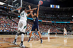 01 APRIL 2012:  Kiah Stokes (41) of the University of Connecticut defends against the University of Notre Dame during the Division I Women's Final Four Semifinals at the Pepsi Center in Denver, CO.  Notre Dame defeated UCONN 83-75 to advance to the national championship game.  Jamie Schwaberow/NCAA Photos