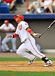 6 March 2011: Washington Nationals' infielder Alberto Gonzalez in action during a Spring Training game against the Atlanta Braves at Space Coast Stadium in Viera, Florida. The Braves shut out the Nationals 5-0 in Grapefruit League action. Mandatory Credit: Ed Wolfstein Photo