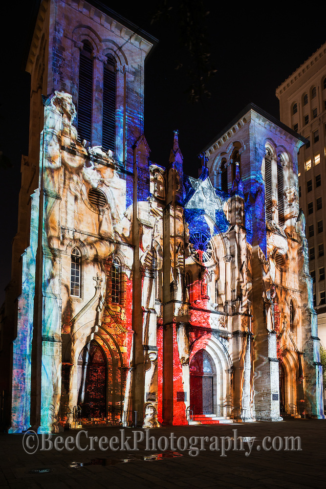 This is one of of the many looks of the San Fernado de Bexar Catherdral led Saga Light show in San Antonio. This capture was of the men of the Alamo capture on the outside of the church in this amazing light show.  San Fernando Cathedral seen like never before during this 24-minute show by French artist Xavier De Richemont, in which lights projected onto the cathedral tell the story of San Antonio from its beginning to today.