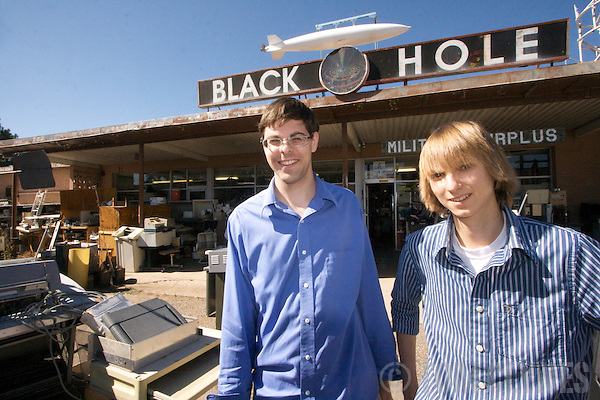 Taylor Wilson and Carl Willis at The Los Alamos Sales Company, aka the Black Hole, in Los Alamos, New Mexico (NM) USA. Taylor and Carl have both constructed nuclear fusion reactors, or fusors.