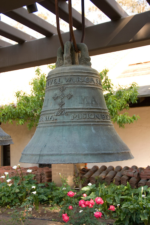 California, San Luis Obispo County: The San Luis Obispo Mission, Mission San Luis Obispo de Tolosa, the 5th in the 21 mission chain founded by Junipero Serra.  At the Mission you can see the Interior and the original Bells..Photo caluis159-70854..Photo copyright Lee Foster, www.fostertravel.com, 510-549-2202, lee@fostertravel.com