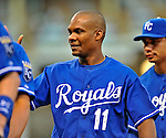 14 September 2008: Kansas City Royals' outfielder Jose Guillen celebrates a win against the Cleveland Indians at Progressive Field in Cleveland, Ohio. The Royal defeated the Indians 13-3 to take the 4-game series three games to one...Mandatory Photo Credit: Ed Wolfstein Photo