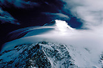 Jet stream blows lenticular clouds over K2 second highest mountain in the world.