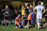 Stuart Hooper of Bath Rugby celebrates at the final whistle. European Rugby Champions Cup match, between Bath Rugby and Leinster Rugby on November 21, 2015 at the Recreation Ground in Bath, England. Photo by: Patrick Khachfe / Onside Images