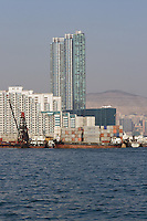 Container ships and highrise accommodation in Hung Hom