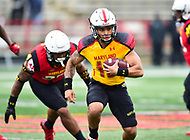 College Park, MD - APR 22, 2016: Maryland Terrapins quarterback (16) Ryan Brand run the football during the 2017 Spring game at Capital One Field at Maryland Stadium in College Park, MD. (Photo by Phil Peters/Media Images International)