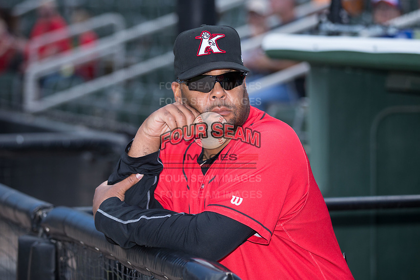 Kannapolis Intimidators hitting coach Jamie Dismuke (45) prior to the game against the Asheville Tourists at Kannapolis Intimidators Stadium on May 7, 2017 in Kannapolis, North Carolina.  The Tourists defeated the Intimidators 4-1.  (Brian Westerholt/Four Seam Images)