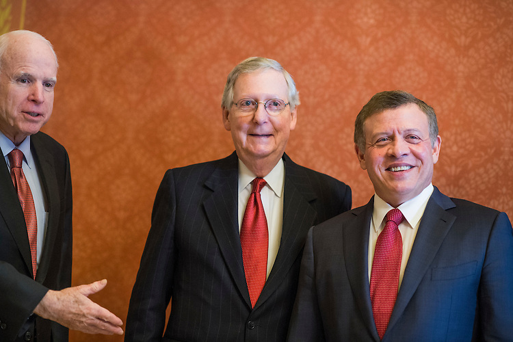 UNITED STATES - JANUARY 31: King Abdullah II of Jordan, right, poses with Senate Majority Leader Mitch McConnell, R-Ky., center, and Sen. John McCain, R-Ariz., before a meeting in the Capitol, January 31, 2017. (Photo By Tom Williams/CQ Roll Call)