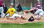 WATERBURY CT. 19 April 2017-041817SV04-#8 Jovanni Torres of Naugatuck tags out #21 Mike Cipriano of Holy Cross at home plate in the 4th inning during NVL baseball action in Waterbury Wednesday.<br /> Steven Valenti Republican-American
