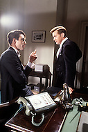 August 1983, New York City. Kennedy TV miniseries written by Reg Gadney and directed by Jim Goddard. Aired on the 20th of November 1983 for the 20th anniversary of the Kennedy assassination. Photo of the stars, Martin Sheen as President John F. Kennedy and John Shea as Robert F. Kennedy.