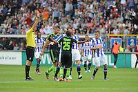 VOETBAL: HEERENVEEN: Abe Lenstra Stadion, 02-09-2012, Eredivisie 2012-2013, SC Heerenveen - Ajax, Eindstand 2-2, Scheidsrechter Pol van Boekel, Toby Alderweireld (#3 | Ajax), Thulani Serero (#25 | Ajax) krijgt een rode kaart, Alfreð Finnbogason (#11 | SCH), ©foto Martin de Jong