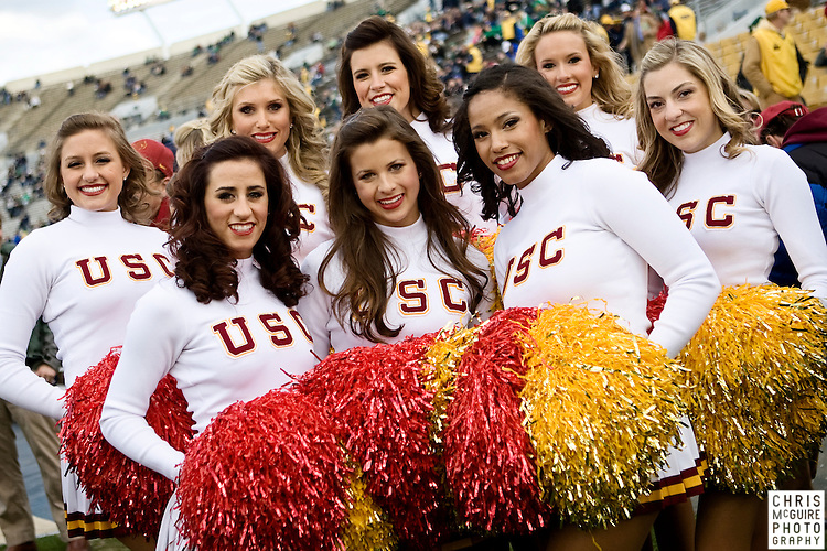 10/17/09 - South Bend, IN:  The USC Song Girls pose for a picture prior to USC's game against Notre Dame at Notre Dame Stadium on Saturday.  USC won the game 34-27 to extend its win streak over Notre Dame to 8 games.  Photo by Christopher McGuire.